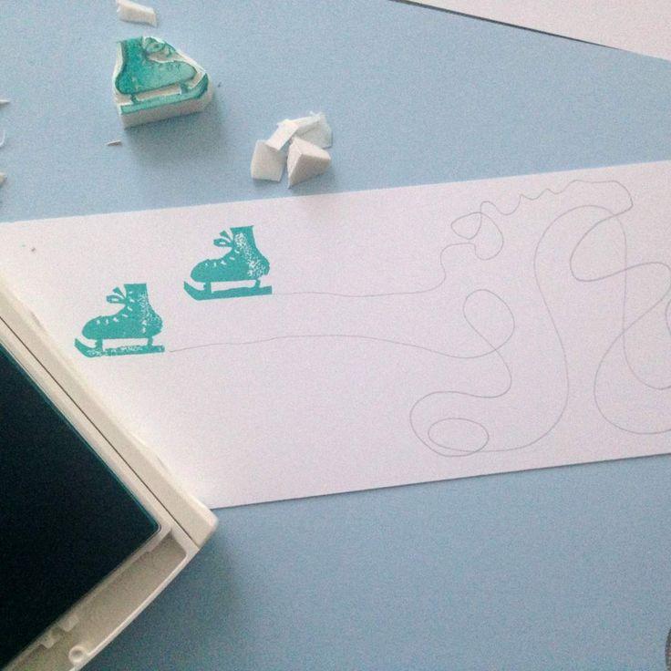 Einladung Kindergeburtstag - zum Eislaufen // Schlittschuh Stempel selber machen //. Anleitung von knobz