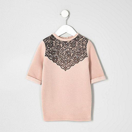 Mini - Roze verfraaide jurk met kant voor meisjes - jurken voor babymeisjes - mini-meisjes - meisjes