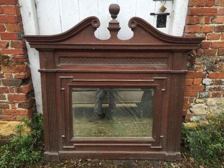 Large 1800s Antique Hardwood Over-Mantel Mirror