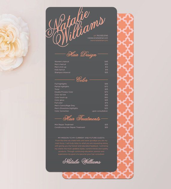 Elegant Name Hair Stylist or Barber Services Menu / Salon Price List Rack Card by © MalloryHopeDesign.com MalloryHopeDesign.Etsy.com