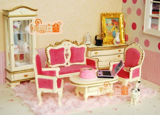[1:12 Scale Doll House Furniture Miniature] Pink Living Room Set, 6 Piece  Set,Luxurious Palace Style In Doll Houses From Toys U0026 Hobbies On Aliexpreu2026