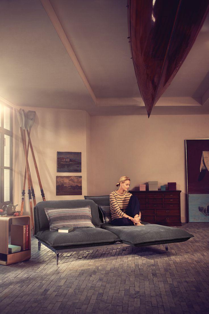 Rolf Benz NOVA reclining sofa and 974 wood side table.  Rolf Benz Studio, Boston, MA.