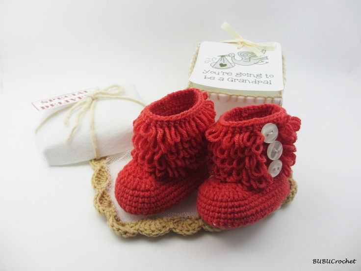 Grandparents Pregnancy Announcement, Baby's First Christmas Gift, Crochet baby shoes, New Baby, Booty Gift Box, Personalized Message by BUBUCrochet on Etsy