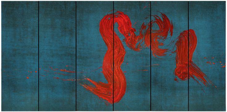 Fabienne Verdier - Contemporary Artist - L'art de la calligraphie monumentale - Saint Christophe traversant les eaux III - 2011