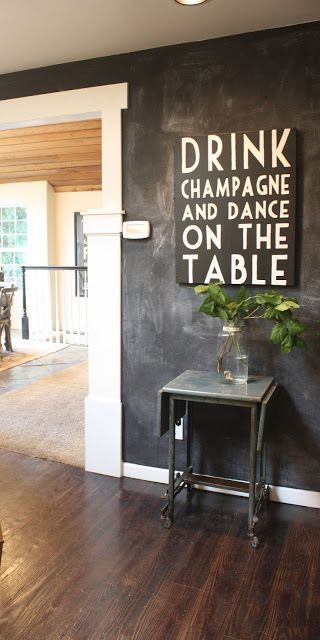 My Sweet Savannah: ~finding fall home tour with better homes & gardens~ simple chalkboard wall and typewriter table