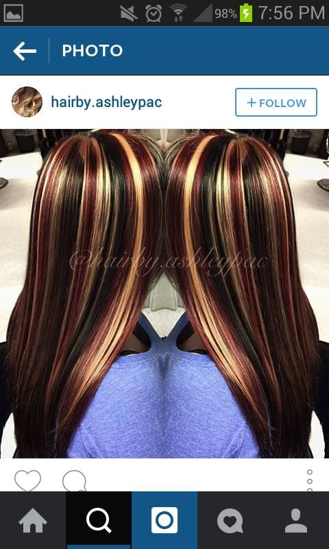 obsessed with this hair !!! black all over with blonde and red chunky highlights