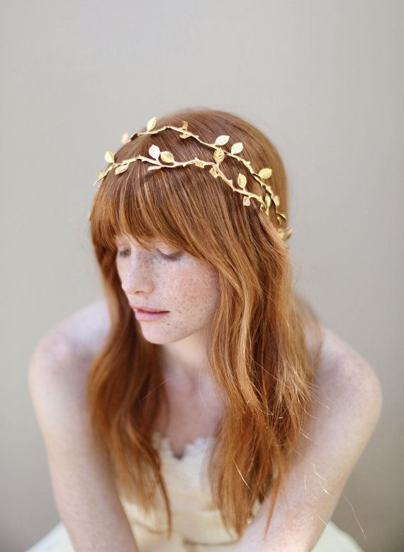 Bridal Hair Vine Grecian Inspired Headband Gilded By Myrakim 295 00 My Wishlist Pinterest And
