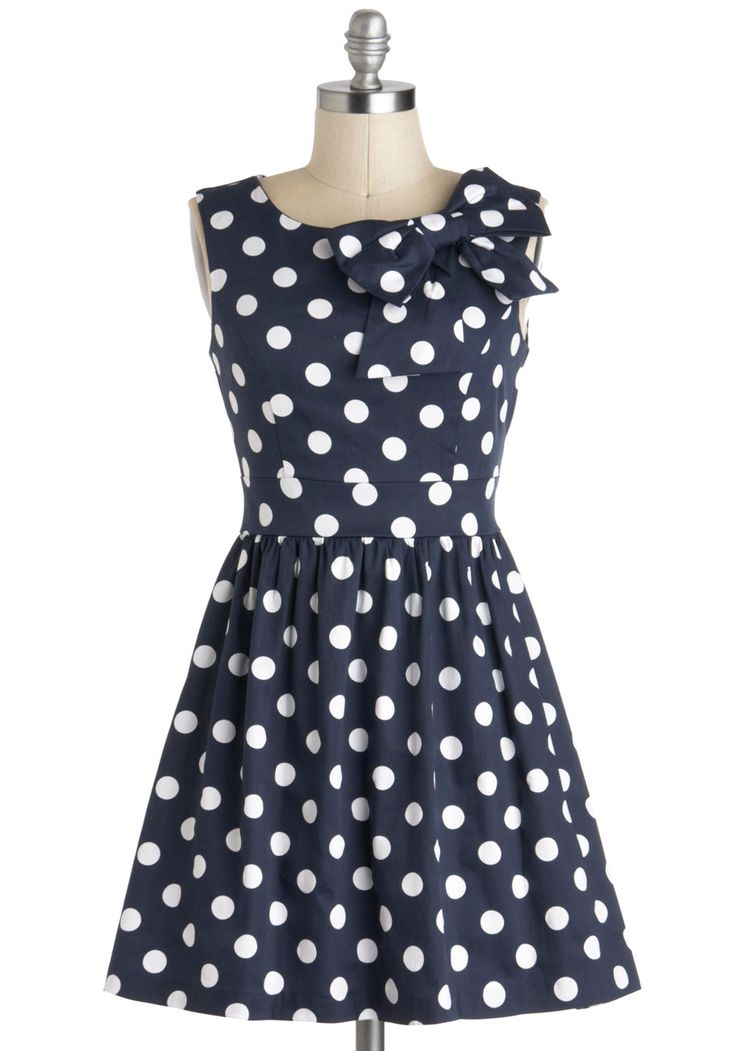 The Pennsylvania Polka Dress in Navy Dots
