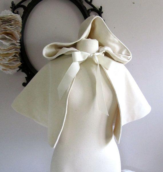 Snow Queen White Velvet Hooded Capelet  Spring Wedding via Etsy