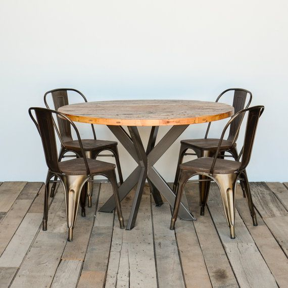 Greenwich Round Coffee Table Choice Of Size: Round Dining Table In Reclaimed Wood And Pedestal Steel