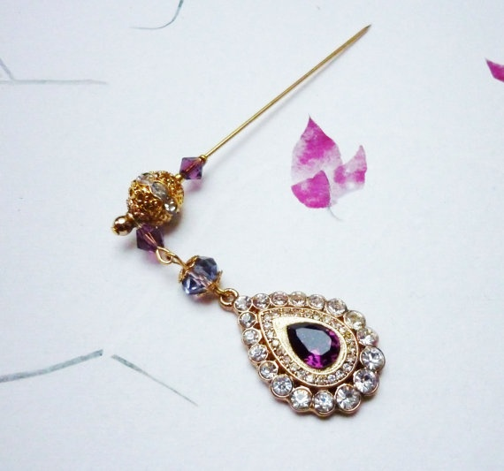 Gold Plated Purple Noor Tear Drop Dangle - Hijab Pin / Hat Pin / Scarf Pin / Shawl Pin. Made with Swarovski Amethyst and Crystal Rhinestones