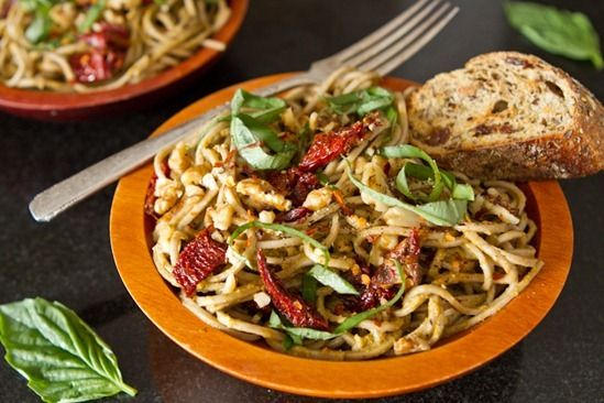 sundried tomato basil pesto pasta: Tomato Basil, Basil Pesto Pasta, Food, Vegan Recipes, Tomatoes, Favorite Recipes, Lightened Up Sundried