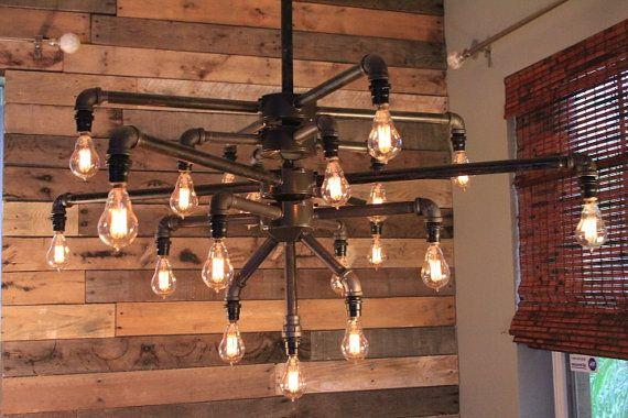 Large Black Iron Pipe 19 Light Chandelier w/ Candelabra Edison style Bulbs