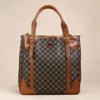 Leather Tote Handbag With Zipper