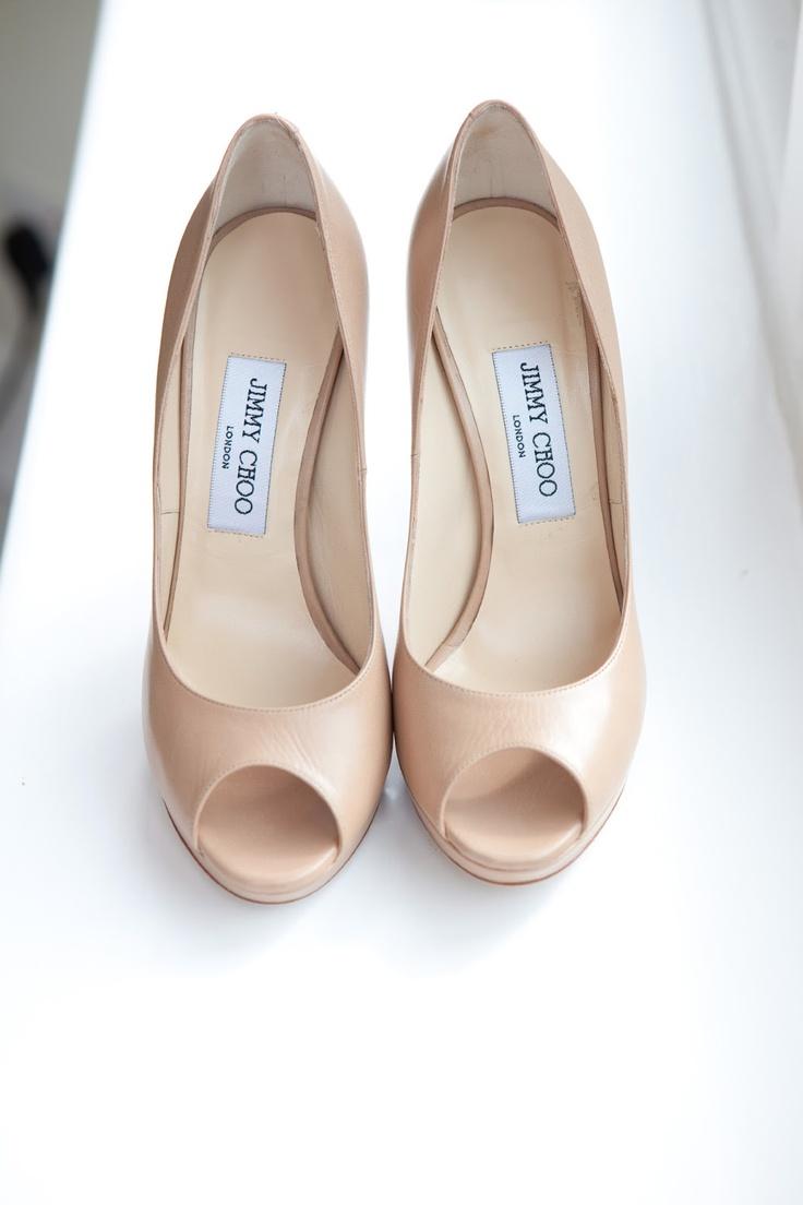 jimmy choo nude peep toe high heels
