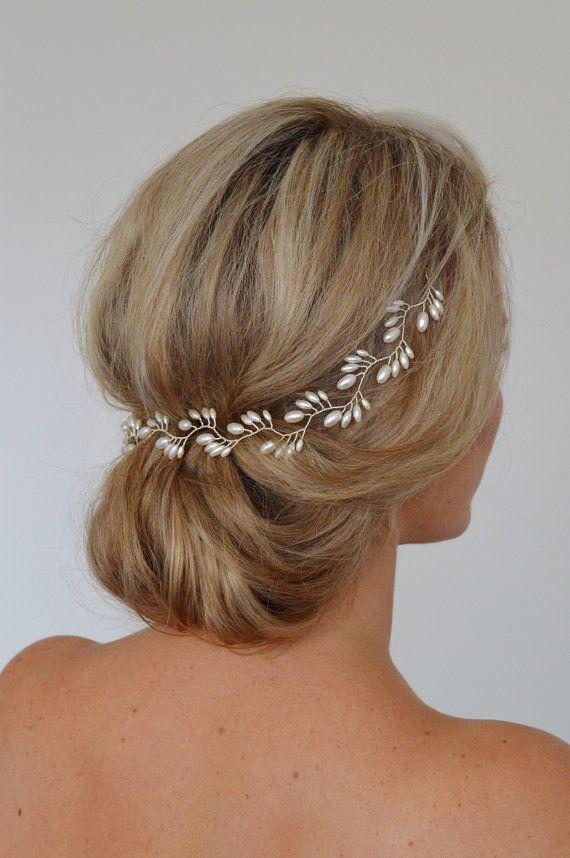 Art-Deco-Braut Haar Rebe Pearl Brautkranz Reis Perle