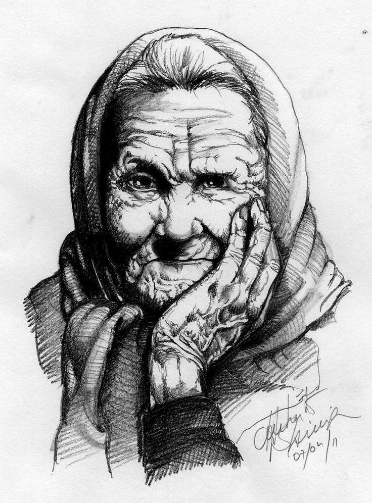 Mulher idosa, estudo de textura