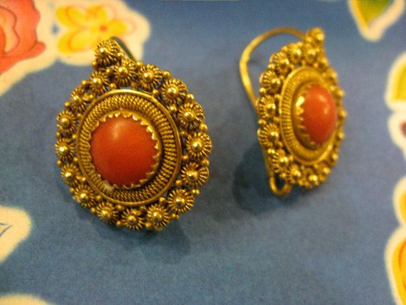 Vintage Coral and Gold Filigree Earrings from by EyesVintage