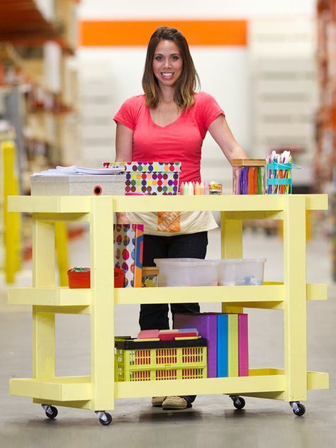 That's DIY blogger Ana White with a rolling storage cart that she created especially for The Home Depot's Do-It-Herself Workshops. We have the tutorial on The Home Depot Blog. Just click through.