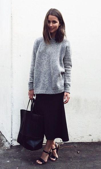 grey sweatshirt, tote, midi skirt & strappy sandals #harperandharley #style #fashion