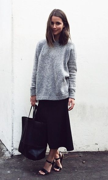 grey sweatshirt, tote, midi skirt & strappy sandals #harperandharley #style #fashion