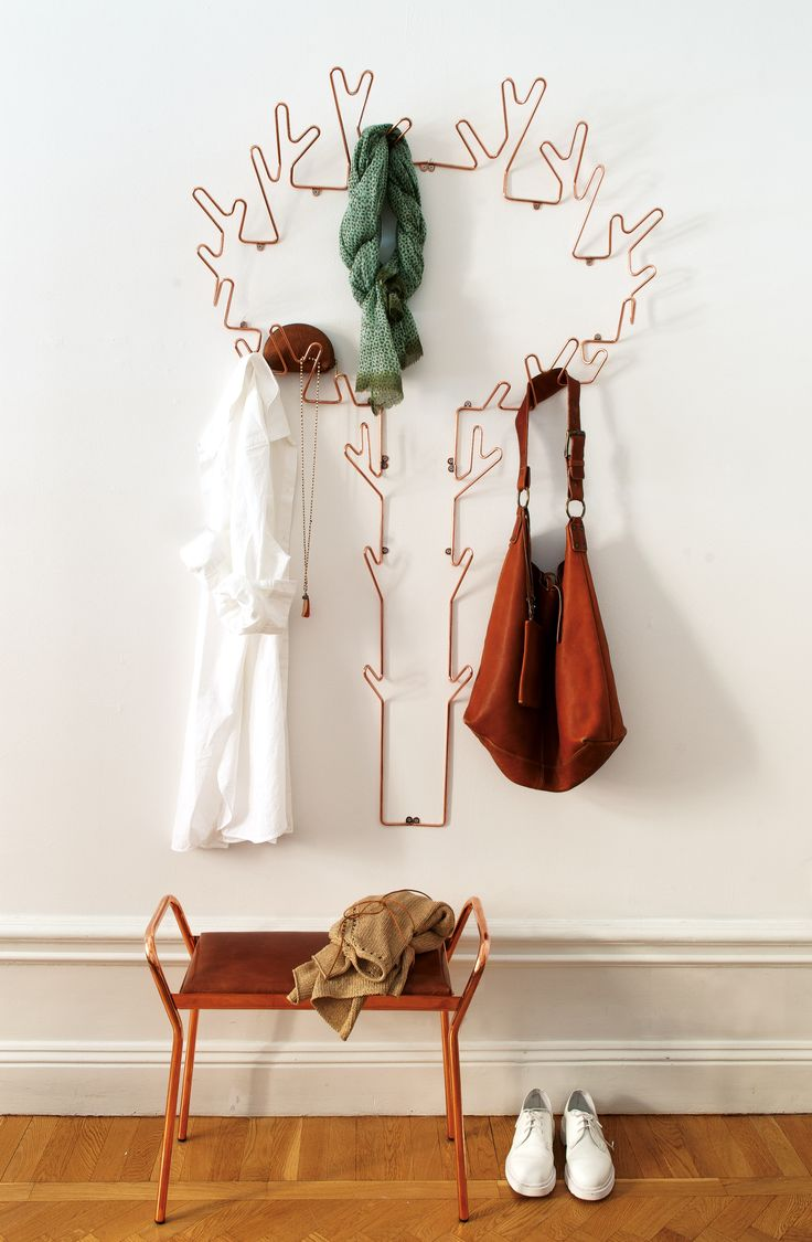 A swedish made hanger in copper called Tree Hanger and the stool Anyone.  Available in black, white and copper.