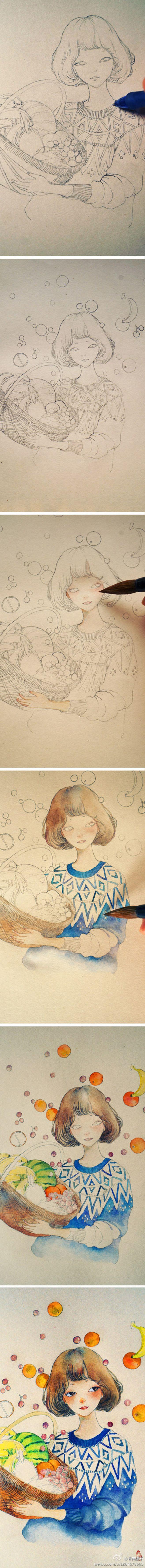 尝试一下新风格,换一下脑子,发现纸不太对...@逆光之处の暖伤采集到暖伤(198图)_花瓣插画/漫画