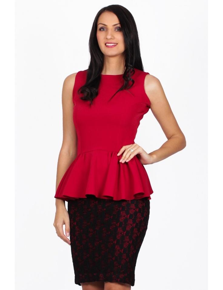 Zega Store - Fusta Tiffani Limited Edition,culoare negru cu rosu - Femei, Fuste