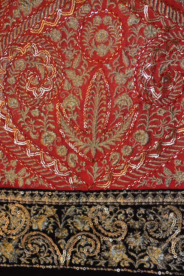 Persian Red Pure Georgette Embroidered Fabric
