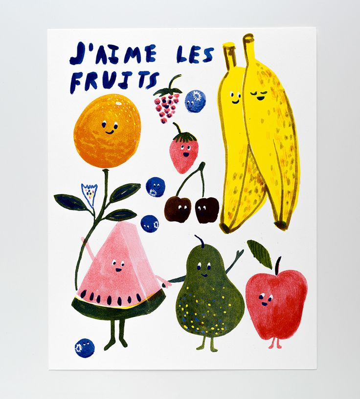 J'aime Les Fruits Risograph Art Print by Yellow Owl Workshop on Scoutmob