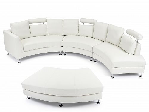 Ronde bank – Leren bank – Leren sofa – Lederen bank in wit – ROTUNDE