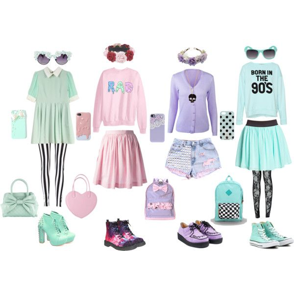Pastel Goth by queenstormrider on Polyvore featuring Pull&Bear, Labour of Love, Forever 21, Boohoo, Call it SPRING, Full Tilt, Wet Seal, Kate Spade, claire's and Herschel Supply Co.