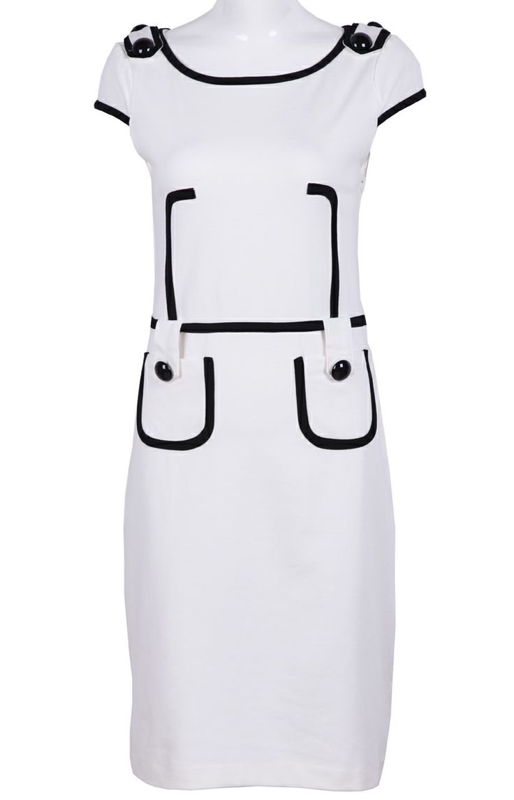 White Sleeveless Contrast Trims Pockets Dress