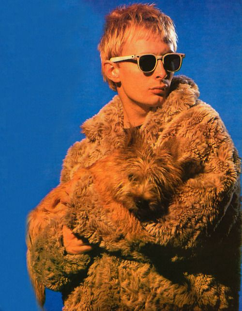 Thom York with furry coat, 90's photo