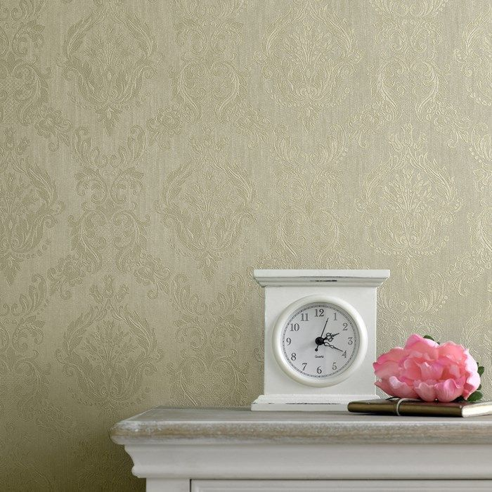 Damask Green Shimmer Wallpaper by Graham and Brown