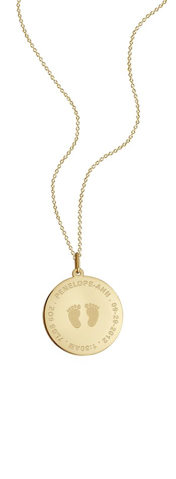 7/8 inch, 14k Gold Baby Footprint Disc Charm Necklace (Personalized)