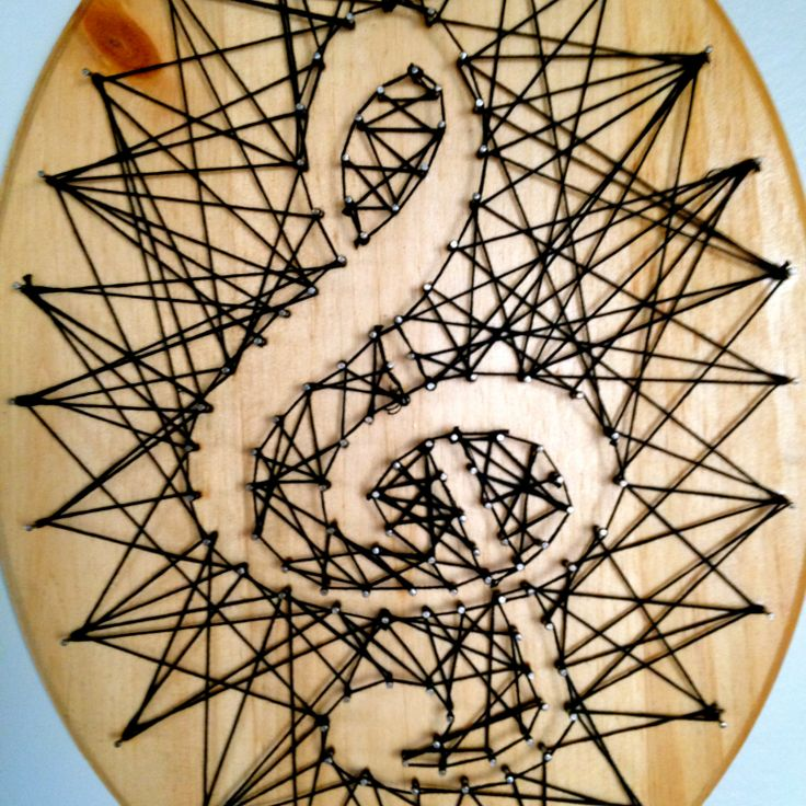 Treble Clef String Art  Black Thread on Finished by SatterThings, $17.50
