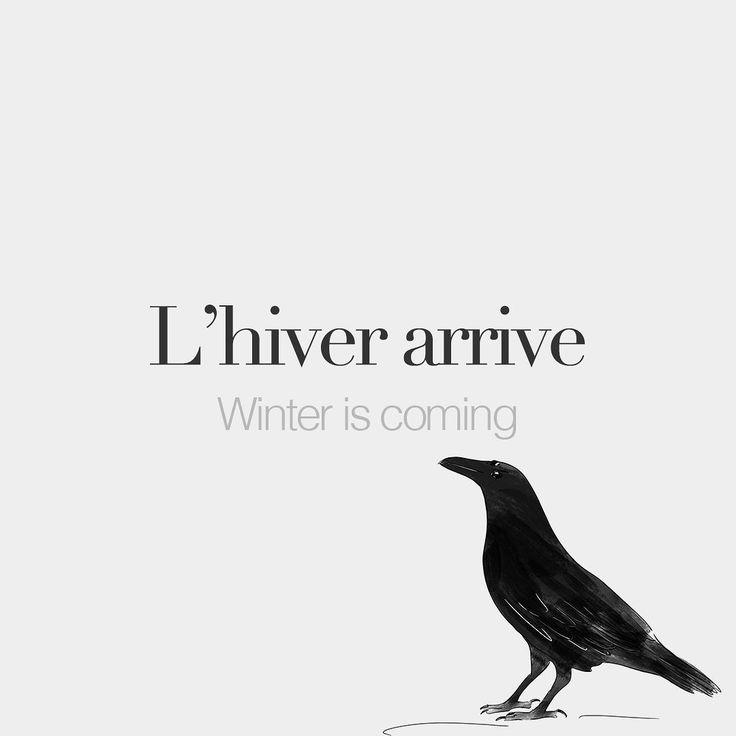 L'hiver arrive • Winter is coming • /l‿i.vɛʁ a.ʁiv/ • Drawing: @beaubonjoli #frenchlanguage