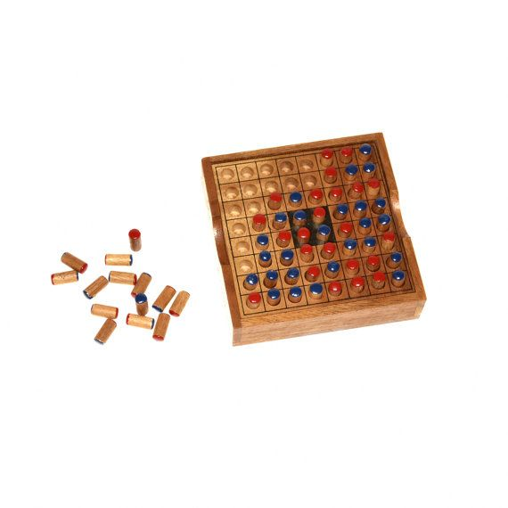 Reverse Othello Game Wooden Game Woodworking 100% by woodengame