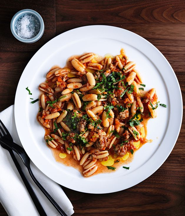 Pork and fennel sausage finds a new life in Isaac McHale''s ragù, served here with dumpling-shaped gnocchetti Sardi. Anchovies add a small burst of umami.