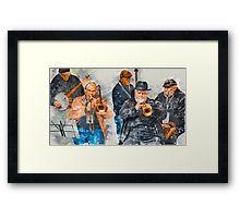Musical Mates in Flinders Lane Framed Print
