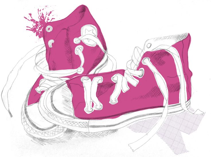 Pink shoes drawn by hannah