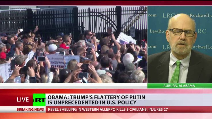 "President Obama claimed that Donald Trump's ""flattery"" of Russian president Putin is ""unprecedented in American politics."" But as RPI Board Member Lew Rockwell tells RT, there is nothing new about it. During the Cold War Americans were told they had to hate the Russians and the Chinese, that the Russians were coming. The latest bashing, however, is ""despicable, warmongering, narcissistic, and dangerous, says Lew Rockwell. Now Hillary Clinton, John Kerry, Barack Obama are ""actually…"
