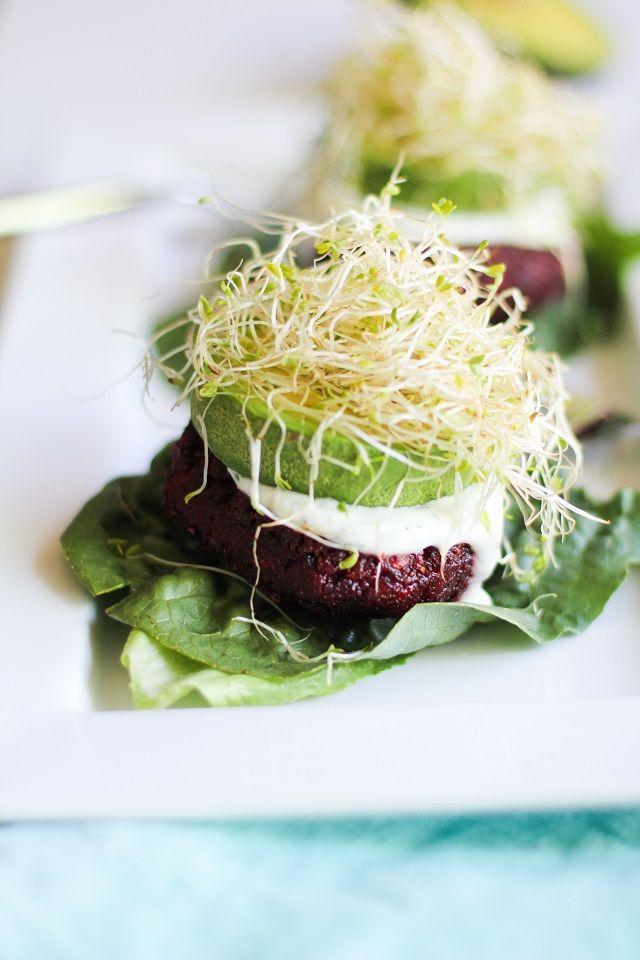 Indian-Spiced Beet Burgers with Lemon-Dill Yogurt Sauce - seriously my favorite veggie burger! #glutenfree #healthy #vegetarian