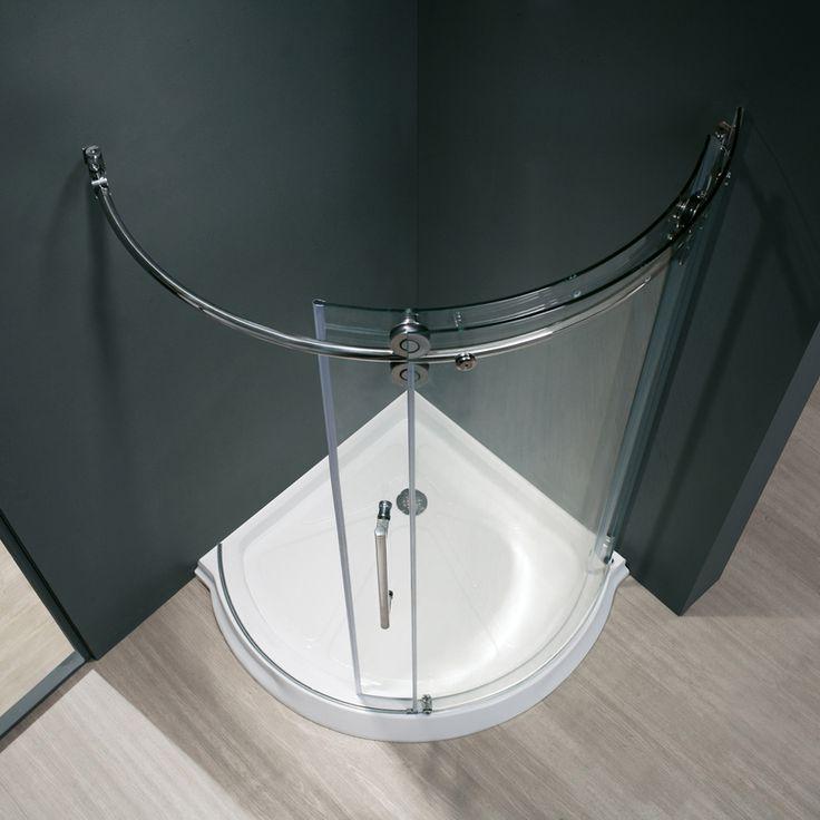 shop vigo frameless showers chrome acrylic floor round 3piece corner shower kit actual