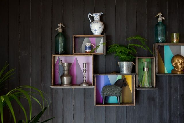 Colourful wall storage  Interior design work by Oliver Heath Design for TV2's Tid for Hjem in Norway  Photograph by Jan Inge Mevold Skogheim