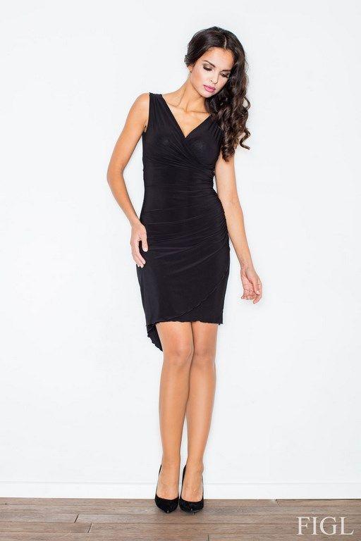 Seksowna czarna sukienka z kopertowym dekoltem