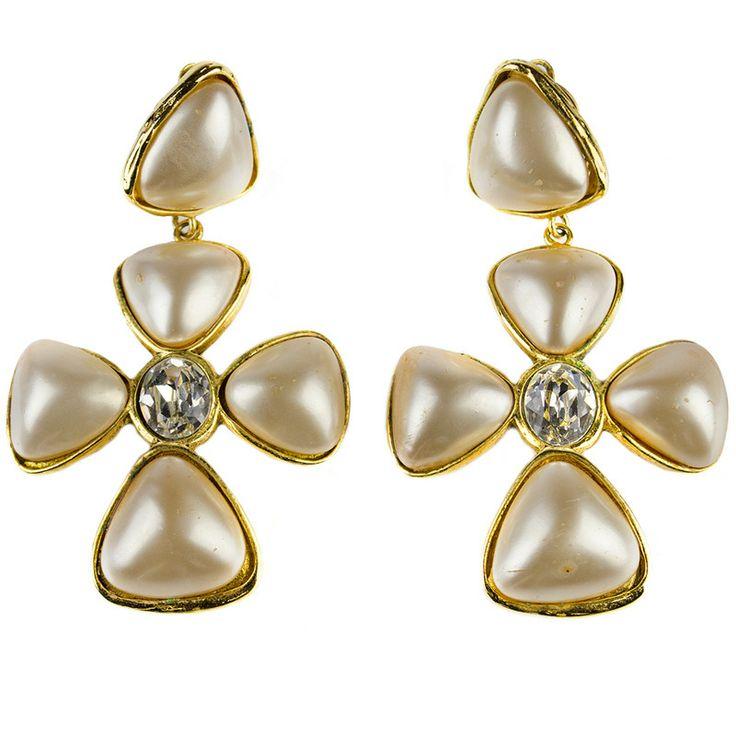 Chandelier Earrings Chanel Vintage Season 26 Pearl