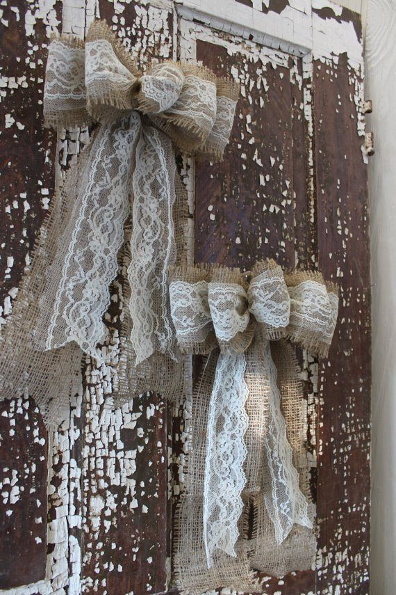 These bows without the burlap and red ribbon would be perfect for my wedding!