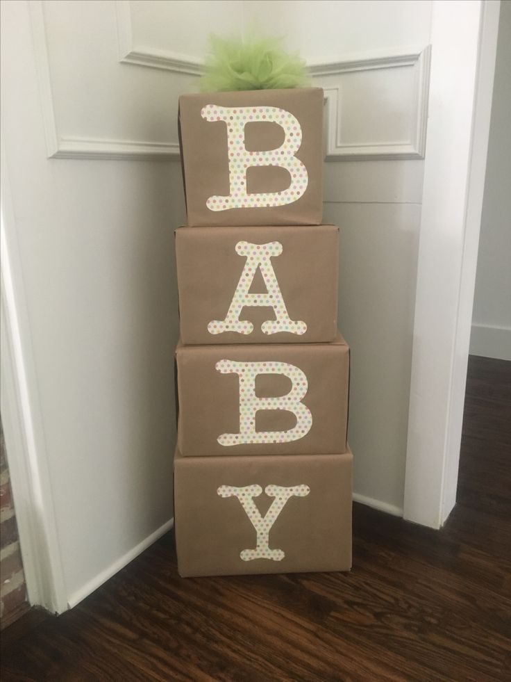 Took Empty Diaper, Wipes, Etc Boxes And Wrapped In Craft Paper From Hobby  Lobby. Then Used The Cricut To Cut Out The Word Baby And Used Rubber Cement  To ...